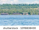 Small photo of Mountain Background with Buildings on Isle Royale Island National Park on Superior Lake