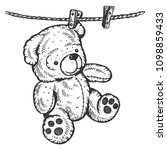 Teddy Bear Drying On Rope...
