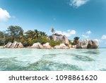 tropical beach in seychelles | Shutterstock . vector #1098861620