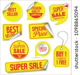 sale stickers and tags yellow... | Shutterstock .eps vector #1098865094
