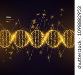gold dna helix on black... | Shutterstock .eps vector #1098882953
