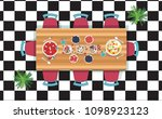 top view dinner on the wooden... | Shutterstock .eps vector #1098923123