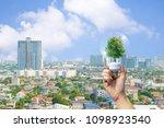 ecology concept human hands... | Shutterstock . vector #1098923540