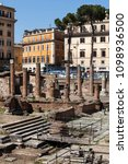 Small photo of ROME, ITALY. May 09, 2015: Remains of Pompeys Theatre in Ancient Campus Martius in Rome, Italy. Republican Roman temples in Largo Argentina square.