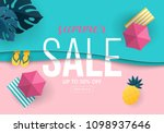 summer sale banner design with... | Shutterstock .eps vector #1098937646