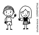 hand drawn kid cartoon | Shutterstock .eps vector #1098940766