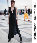 Small photo of PARIS, France- March 03 2018:Theodora Quinlivan on the street during the Paris Fashion Week