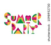 "lettering title ""summer party""... 