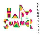 "lettering title ""happy summer""... | Shutterstock .eps vector #1098952850"