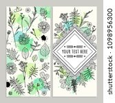 set template cards with flowers ... | Shutterstock .eps vector #1098956300