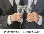 business group cheers  wine... | Shutterstock . vector #1098956684