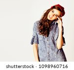 young cheerful brunette teenage ... | Shutterstock . vector #1098960716