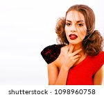 young pretty woman with fashion ... | Shutterstock . vector #1098960758