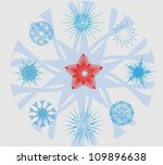 set with snowflakes christmas...