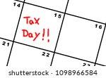 tax day on a calendar | Shutterstock . vector #1098966584