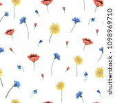 floral embroidery seamless... | Shutterstock . vector #1098969710