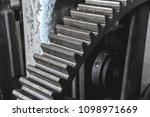 steel huge gear. flywheel from... | Shutterstock . vector #1098971669