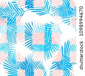 tropical pattern  palm leaves... | Shutterstock .eps vector #1098994670