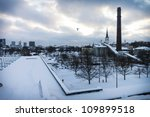 Dramatic view on the Tallinn at winter - stock photo