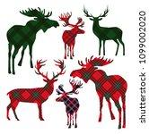 set of deer on tartan... | Shutterstock .eps vector #1099002020