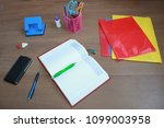 business accessories on the... | Shutterstock . vector #1099003958