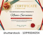 official retro certificate with ... | Shutterstock .eps vector #1099004054