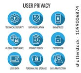 gdpr   privacy policy icon set... | Shutterstock .eps vector #1099006874