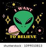 cartoon design green face alien ...   Shutterstock .eps vector #1099010813