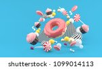 donut  cupcakes  macaron candy... | Shutterstock . vector #1099014113