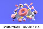 donut  cupcakes  macaron candy... | Shutterstock . vector #1099014116