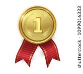 golden realistic medal with red ... | Shutterstock .eps vector #1099016333