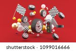 wheel floats amidst flags and... | Shutterstock . vector #1099016666