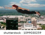 beautiful young woman flying or ... | Shutterstock . vector #1099030259