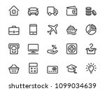 vector icon set of loan objects ... | Shutterstock .eps vector #1099034639