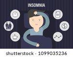 sleepless man face cartoon... | Shutterstock .eps vector #1099035236