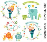 happy father's day illustration ... | Shutterstock .eps vector #1099037480