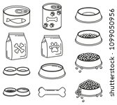 line art black and white 12 pet ... | Shutterstock .eps vector #1099050956