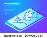 isometric flat  people talking... | Shutterstock .eps vector #1099062119