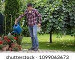 handsome man watering flowers...   Shutterstock . vector #1099063673