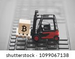 forklift with bitcoin graphic... | Shutterstock . vector #1099067138