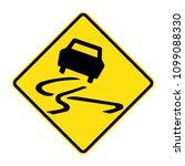 slippery road sign  traffic... | Shutterstock .eps vector #1099088330