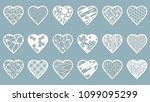 set stencil hearts with carved... | Shutterstock .eps vector #1099095299