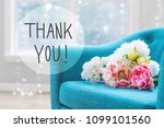 thank you message with flower... | Shutterstock . vector #1099101560