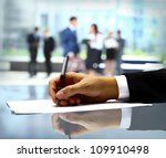 businessman is signing a... | Shutterstock . vector #109910498