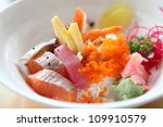 bowl of japanese mix sashimi... | Shutterstock . vector #109910579
