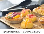 close up choux cream with bakery | Shutterstock . vector #1099135199