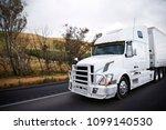 big rig white comfort semi...   Shutterstock . vector #1099140530