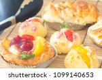 close up choux cream with bakery | Shutterstock . vector #1099140653