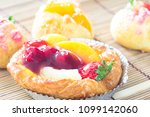 close up danish with choux... | Shutterstock . vector #1099142060