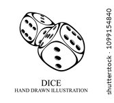 dice hand drawn illustration. ... | Shutterstock .eps vector #1099154840